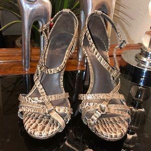 Tory Burch Strappy Heel Sandals 6.5M Animal $350